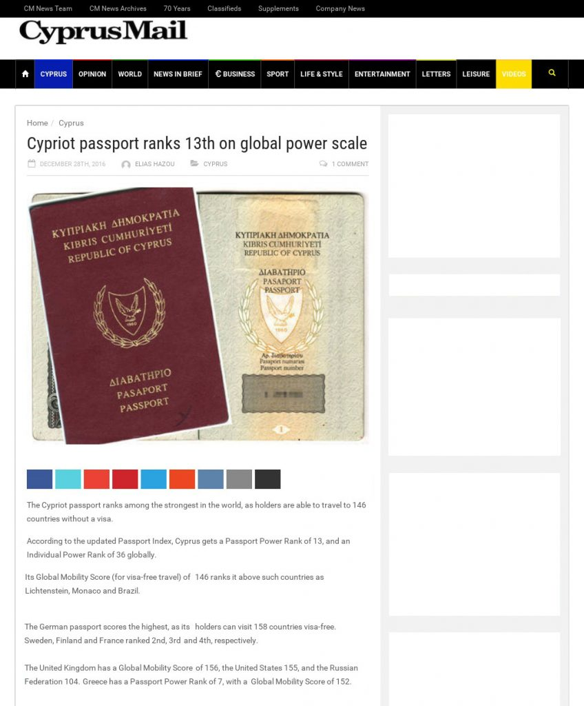 Article from Cyprus Mail on Cypriot Passport