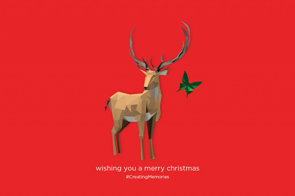 Merry Christmas - Reindeer and Butterfly